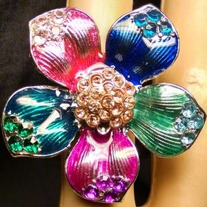 Multi Color Flower Rhinestones Cocktail Ring